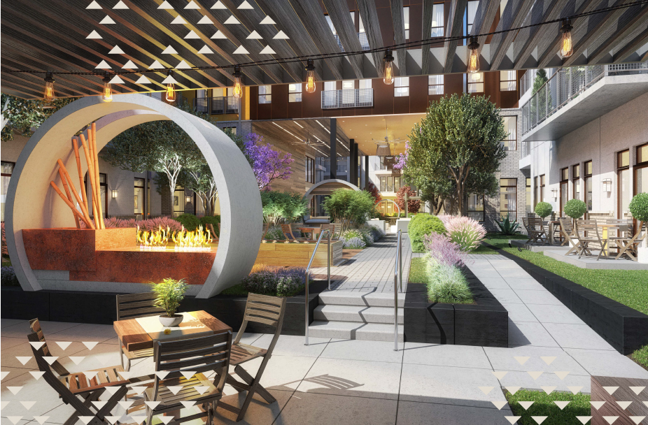rendering of the outdoor courtyard at Ferro apartments in downtown Plano, TX with firepit, trees, grasses and various seating areas